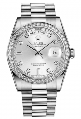 Rolex - Day-Date President Platinum - Diamond Bezel - President - Watch Brands Direct  - 1