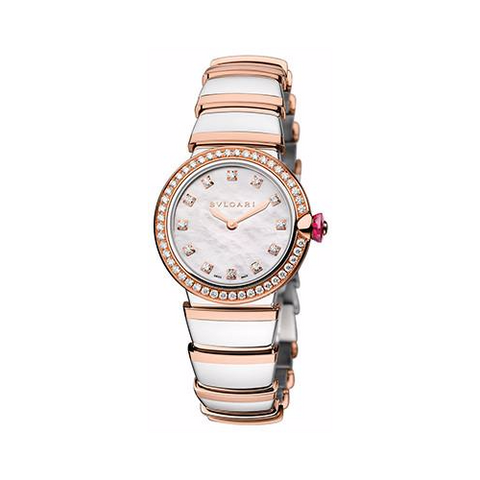 Bulgari,Bulgari - Lucea 28mm - Stainless Steel and Rose Gold with Diamonds - Watch Brands Direct