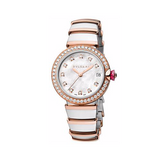 Bulgari,Bulgari - Lucea Automatic 33mm - Stainless Steel and Rose Gold with Diamonds - Watch Brands Direct