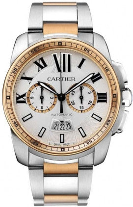 Cartier,Cartier - Calibre de Cartier Chronograph Stainless Steel and Pink Gold - Watch Brands Direct