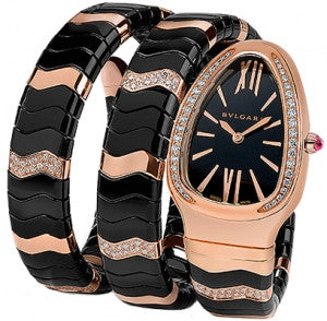Bulgari,Bulgari - Serpenti Spiga 35mm - Rose Gold, Black Ceramic and Diamonds - Two Twirl Bracelet - Watch Brands Direct