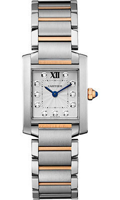 Cartier,Cartier - Tank Francaise Small - Steel and Pink Gold - Watch Brands Direct