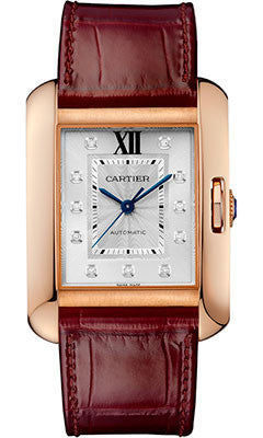 Cartier,Cartier - Tank Anglaise Pink Gold With Diamonds - Alligator Strap - Watch Brands Direct