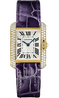 Cartier,Cartier - Tank Anglaise Yellow Gold With Diamonds - Alligator Strap - Watch Brands Direct