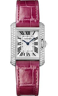 Cartier,Cartier - Tank Anglaise White Gold With Diamonds - Alligator Strap - Watch Brands Direct