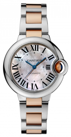 Cartier,Cartier - Ballon Bleu 33mm - Steel and Pink Gold - Watch Brands Direct
