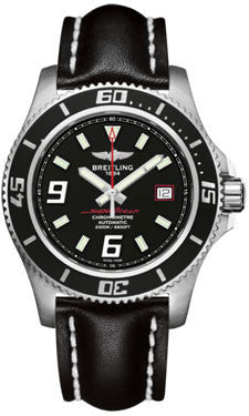 Breitling,Breitling - Superocean 44 Satin Steel - Leather Strap - Watch Brands Direct