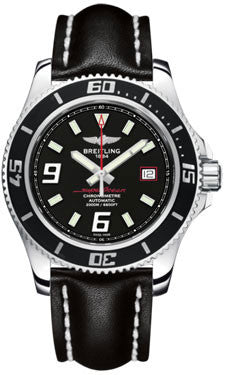 Breitling,Breitling - Superocean 44 Polished Steel - Leather Strap - Watch Brands Direct