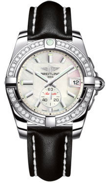 Breitling,Breitling - Galactic 36 Automantic Stainless Steel - Diamond Bezel - Leather Strap - Watch Brands Direct