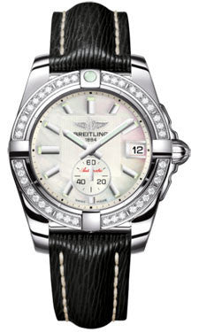Breitling,Breitling - Galactic 36 Automantic Stainless Steel - Diamond Bezel - Sahara Strap - Watch Brands Direct