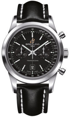 Breitling,Breitling - Transocean Chronograph 38 Stainless Steel - Leather Strap - Watch Brands Direct