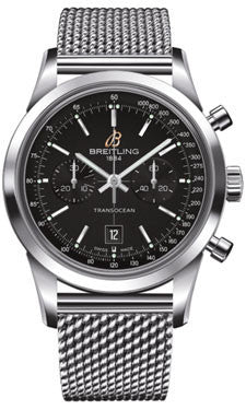 Breitling,Breitling - Transocean Chronograph 38 Stainless Steel - Ocean Classic Bracelet - Watch Brands Direct