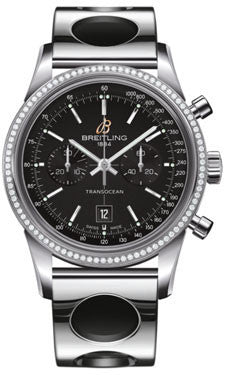 Breitling,Breitling - Transocean Chronograph 38 Steel - Diamond Bezel - Air Racer Bracelet - Watch Brands Direct