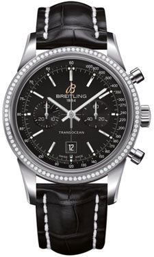 Breitling,Breitling - Transocean Chronograph 38 Steel - Diamond Bezel - Croco Strap - Watch Brands Direct