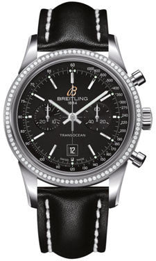 Breitling,Breitling - Transocean Chronograph 38 Steel - Diamond Bezel - Leather Strap - Watch Brands Direct