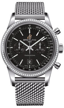 Breitling,Breitling - Transocean Chronograph 38 Steel - Diamond Bezel - Ocean Classic Bracelet - Watch Brands Direct