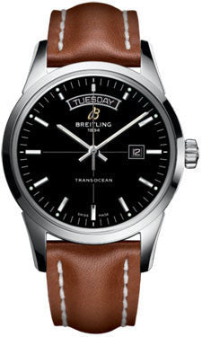 Breitling,Breitling - Transocean Day and Date Stainless Steel - Leather Strap - Watch Brands Direct