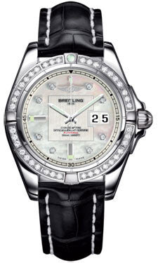 Breitling,Breitling - Galactic 41 Stainless Steel - Diamond Bezel - Croco Strap - Watch Brands Direct
