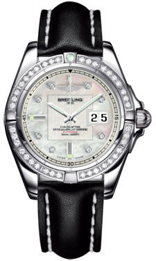 Breitling,Breitling - Galactic 41 Stainless Steel - Diamond Bezel - Leather Strap - Watch Brands Direct