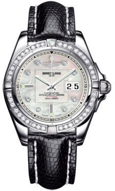 Breitling,Breitling - Galactic 41 Stainless Steel - Diamond Bezel - Lizard Strap - Watch Brands Direct