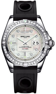 Breitling,Breitling - Galactic 41 Stainless Steel - Diamond Bezel - Ocean Racer Strap - Watch Brands Direct