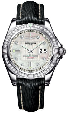 Breitling,Breitling - Galactic 41 Stainless Steel - Diamond Bezel - Sahara Strap - Watch Brands Direct