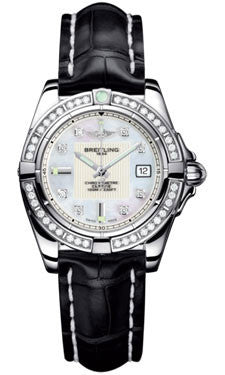 Breitling,Breitling - Galactic 32 Stainless Steel - Diamond Bezel - Croco Strap - Watch Brands Direct
