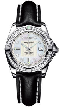 Breitling,Breitling - Galactic 32 Stainless Steel - Diamond Bezel - Leather Strap - Watch Brands Direct