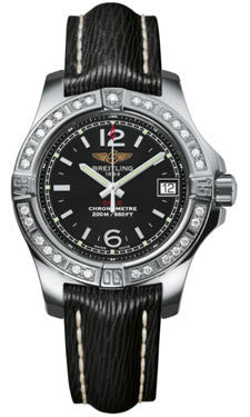 Breitling,Breitling - Colt Lady Diamond Bezel - Sahara Leather Strap - Watch Brands Direct