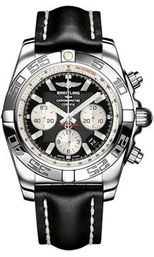 Breitling,Breitling - Chronomat 44 Steel Polished Bezel - Leather Strap - Watch Brands Direct