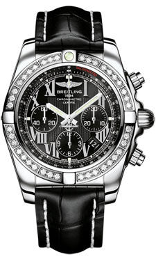 Breitling,Breitling - Chronomat 44 Steel 40 Diamond Bezel - Croco Strap - Watch Brands Direct