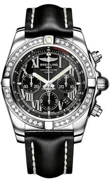 Breitling,Breitling - Chronomat 44 Steel 40 Diamond Bezel - Leather Strap - Watch Brands Direct
