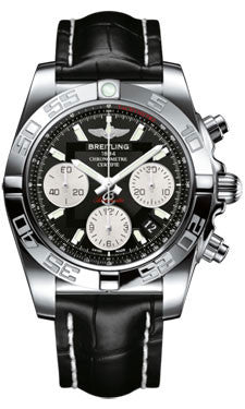 Breitling,Breitling - Chronomat 41 Steel Polished Bezel - Croco Strap - Watch Brands Direct