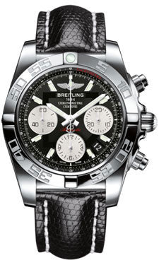 Breitling,Breitling - Chronomat 41 Steel Polished Bezel - Lizard Strap - Watch Brands Direct