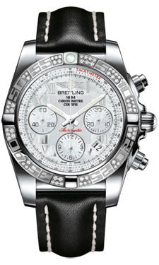 Breitling,Breitling - Chronomat 41 Steel Diamond Bezel - Leather Strap - Watch Brands Direct