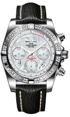 Breitling,Breitling - Chronomat 41 Steel Diamond Bezel - Sahara Leather Strap - Watch Brands Direct