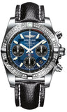 Breitling,Breitling - Chronomat 41 Steel Diamond Bezel - Lizard Strap - Watch Brands Direct