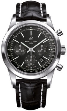 Breitling,Breitling - Transocean Chronograph Stainless Steel - Croco Strap - Deployant - Watch Brands Direct