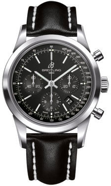 Breitling,Breitling - Transocean Chronograph Stainless Steel - Leather Strap - Watch Brands Direct