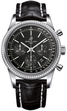 Breitling,Breitling - Transocean Chronograph Steel - Diamond Bezel - Croco Strap - Watch Brands Direct