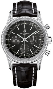 Breitling,Breitling - Transocean Chronograph Steel - Diamond Case - Croco Strap - Watch Brands Direct