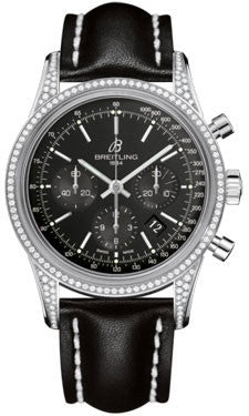Breitling,Breitling - Transocean Chronograph Steel - Diamond Case - Leather Strap - Watch Brands Direct