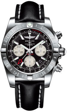 Breitling,Breitling - Chronomat 44 GMT Stainless Steel on Leather - Watch Brands Direct