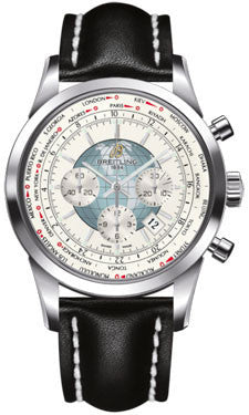 Breitling,Breitling - Transocean Chronograph Unitime Stainless Steel - Leather Strap - Watch Brands Direct