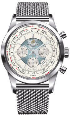 Breitling,Breitling - Transocean Chronograph Unitime Stainless Steel - Bracelet - Watch Brands Direct