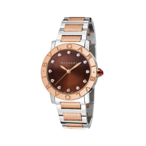 Bulgari,Bulgari - BVLGARI Quartz 33mm - Stainless Steel and Rose Gold - Watch Brands Direct