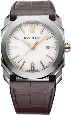 Bulgari,Bulgari - Octo Automatic 41mm - Stainless Steel and Rose Gold - Watch Brands Direct