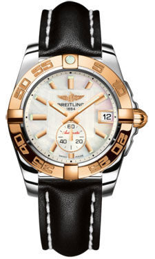 Breitling,Breitling - Galactic 36 Automantic Steel-Rose Gold - Leather Strap - Watch Brands Direct