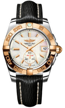 Breitling,Breitling - Galactic 36 Automantic Steel-Rose Gold - Sahara Strap - Watch Brands Direct