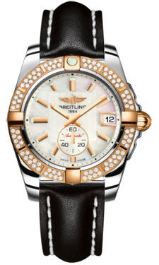 Breitling,Breitling - Galactic 36 Automantic Steel-Rose Gold - Diamond Bezel - Leather Strap - Watch Brands Direct
